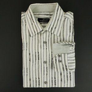 Bugatchi Uomo Floral Striped Flip Cuff Dress Shirt